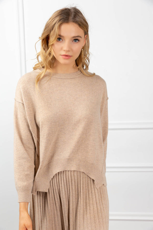Maxine Knit Set Tan in Tops by J.ING - an L.A based women's fashion line