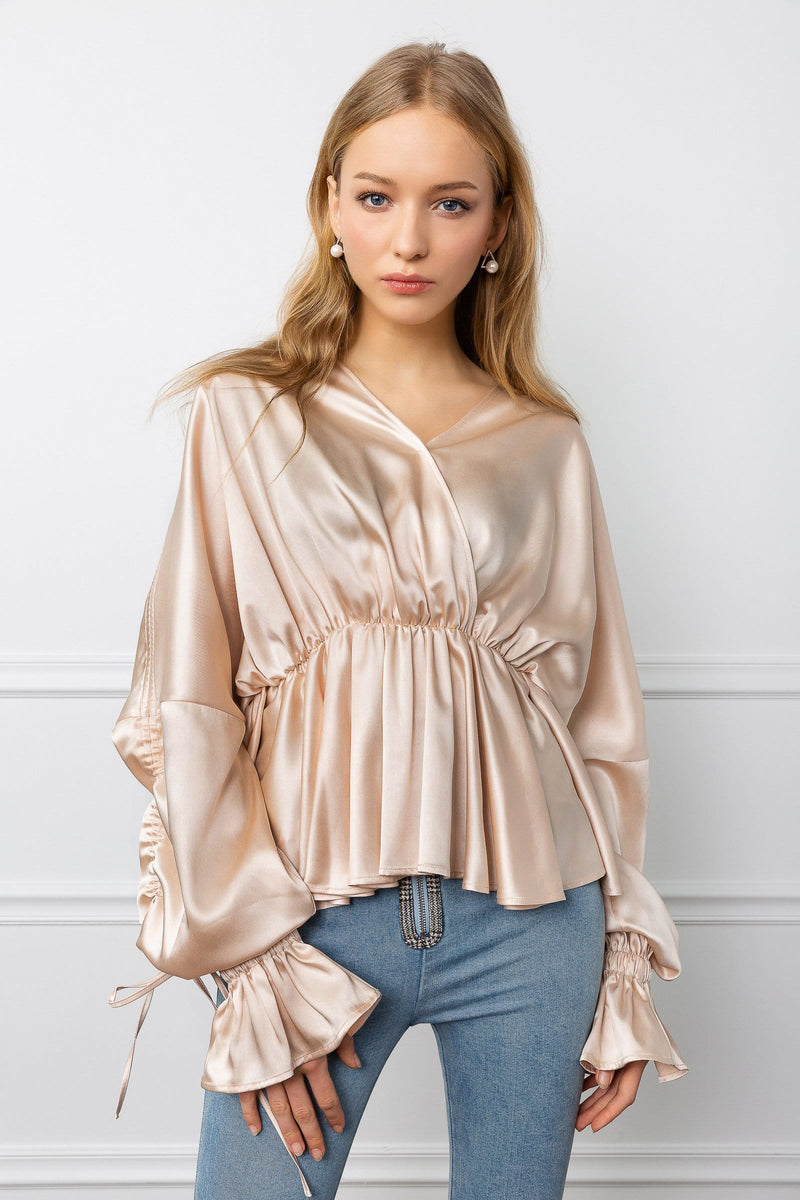 Satina Peach Surplice Blouse