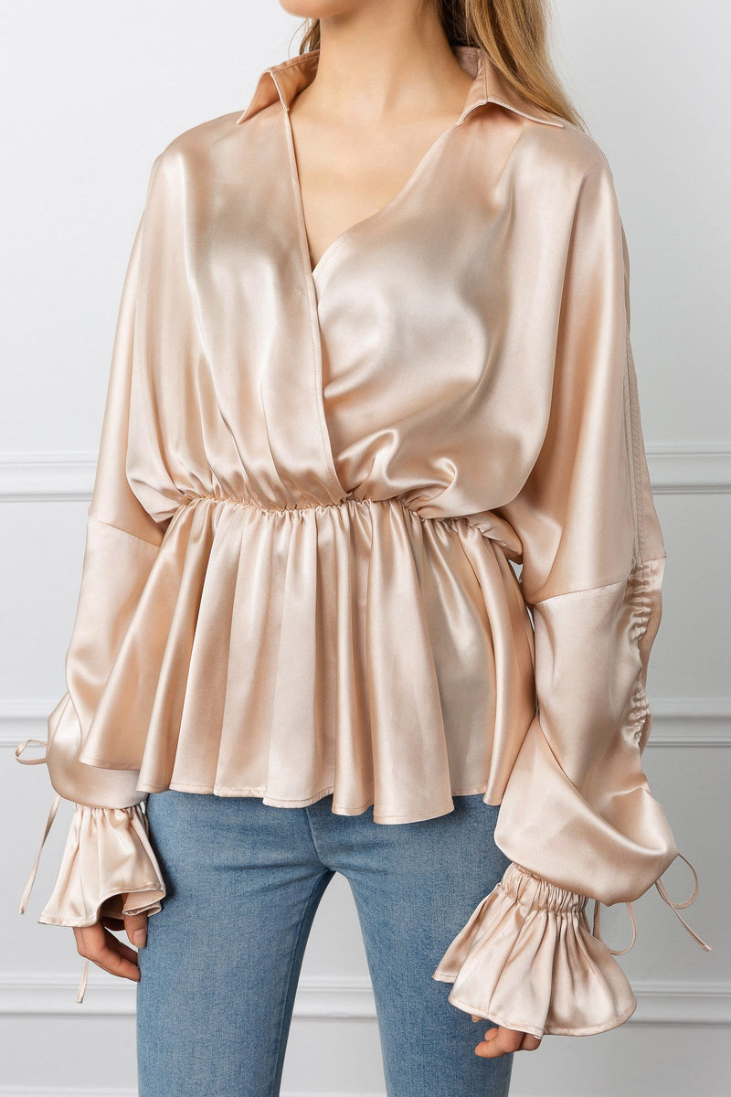 Champagne colored ruffle blouse