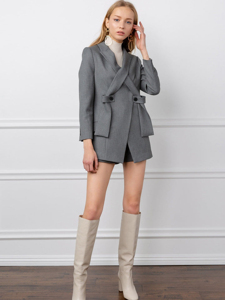 Grey Crossed Lapel women's blazer by J.ING los angeles apparel