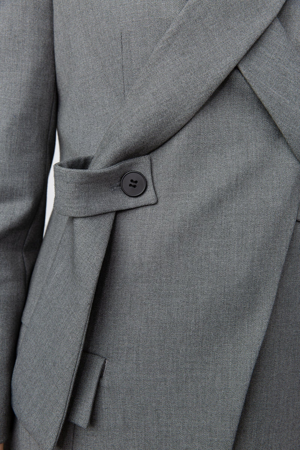 Claudine Grey Cross Lapel Blazer