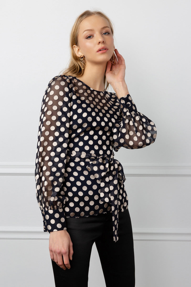 Silky Satin Sheer Polka Dotted Blouse with Tied Waist by J.ING women's clothing