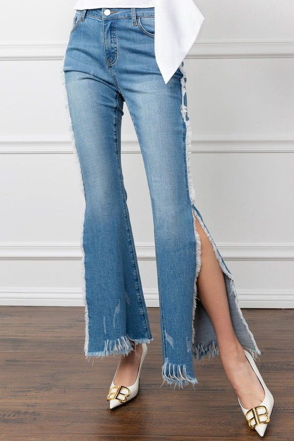 Blue Jean Split Leg Bell Bottom Pants | J.ING Women's Casual Bottoms