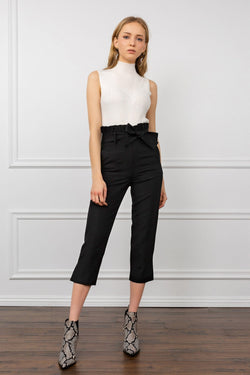 Black Bow-Tied Waist Capri Pants | J.ING Women's Work Wear