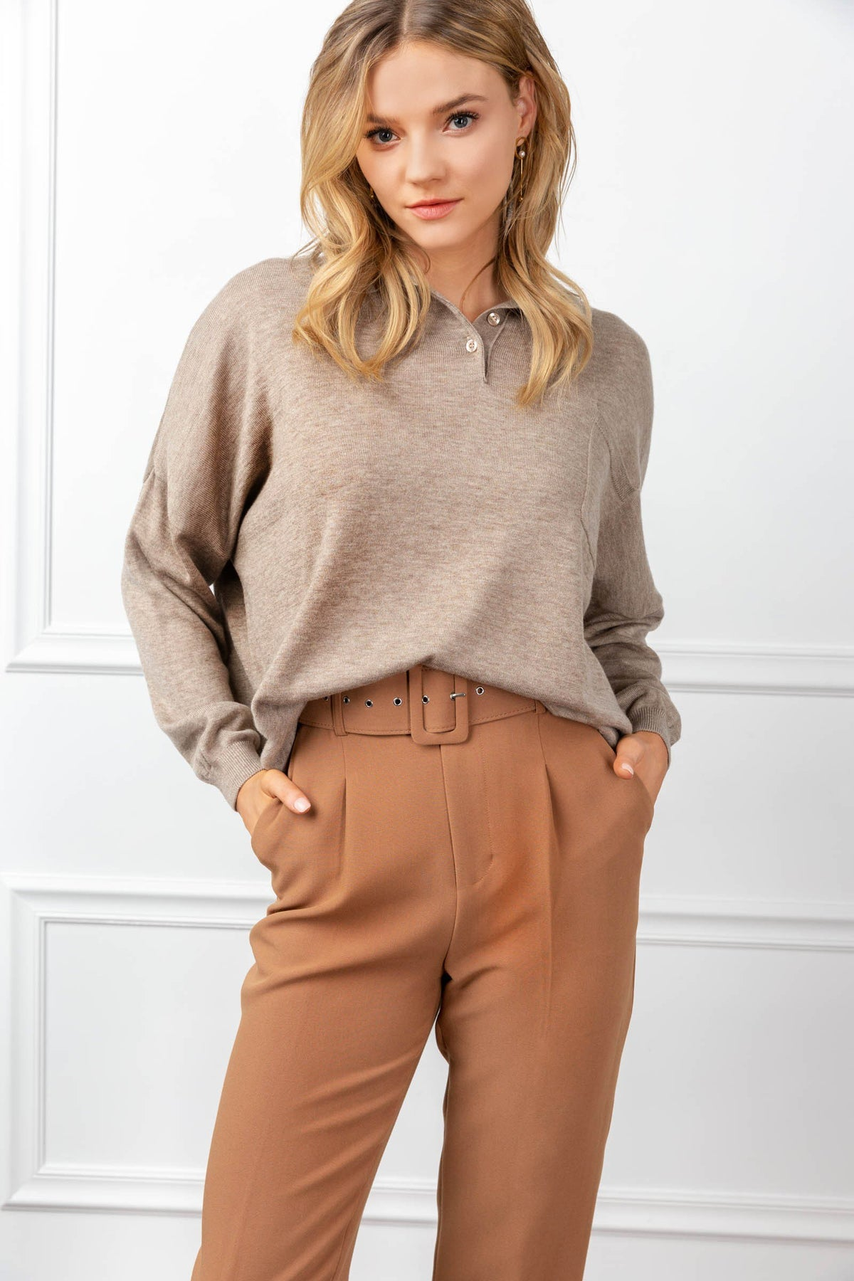 Odette Sweater Tan in Tops by J.ING - an L.A based women's fashion line