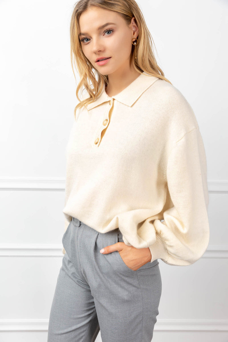 Odette Sweater White in Tops by J.ING - an L.A based women's fashion line
