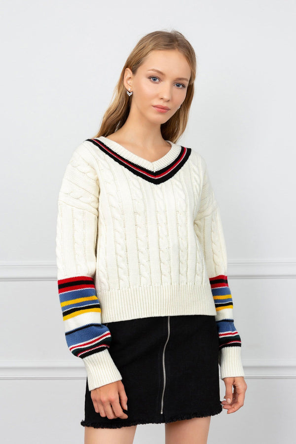 Apex White Cable Knit Sweater