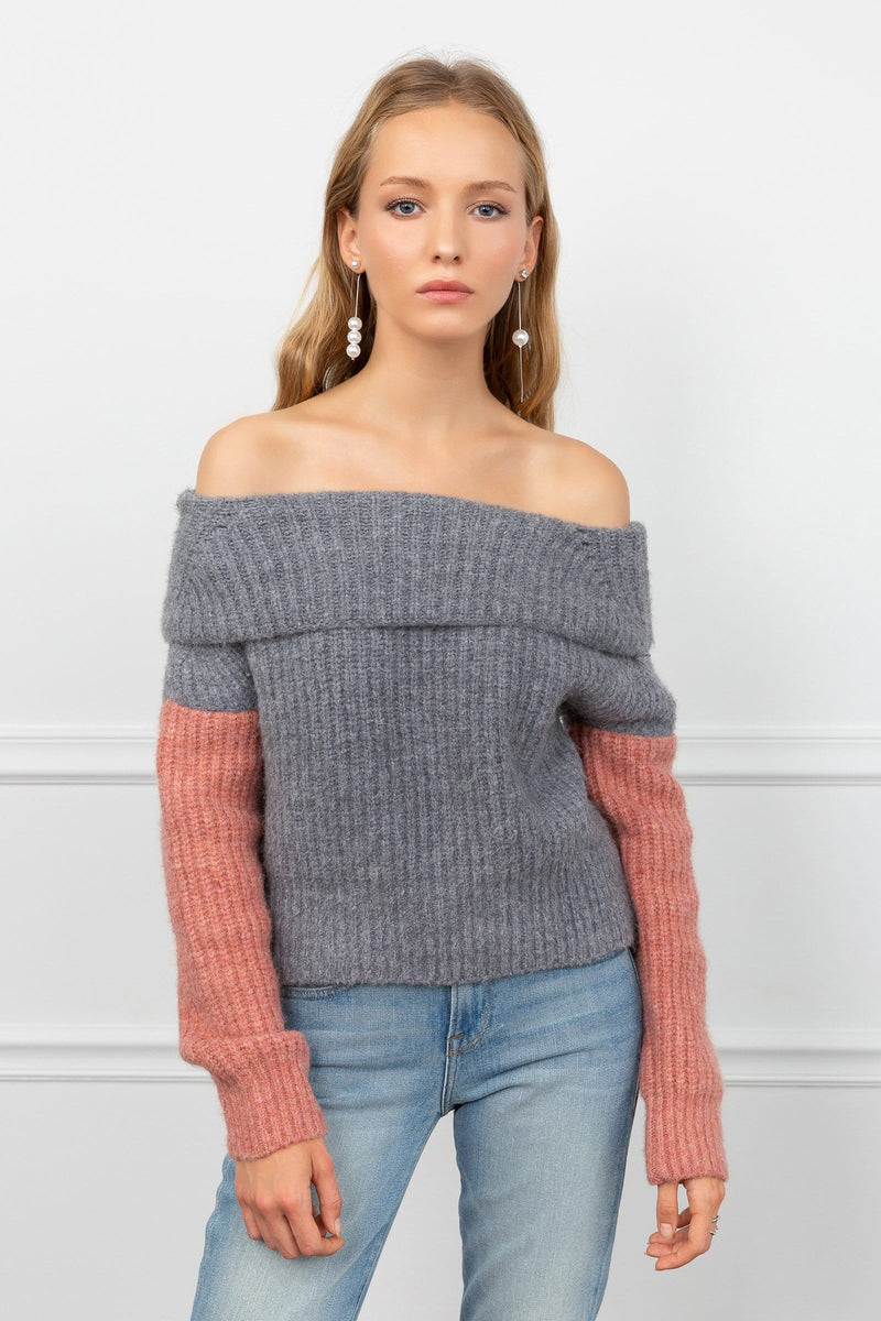 Jenny GreyPink Off the Shoulder Sweater