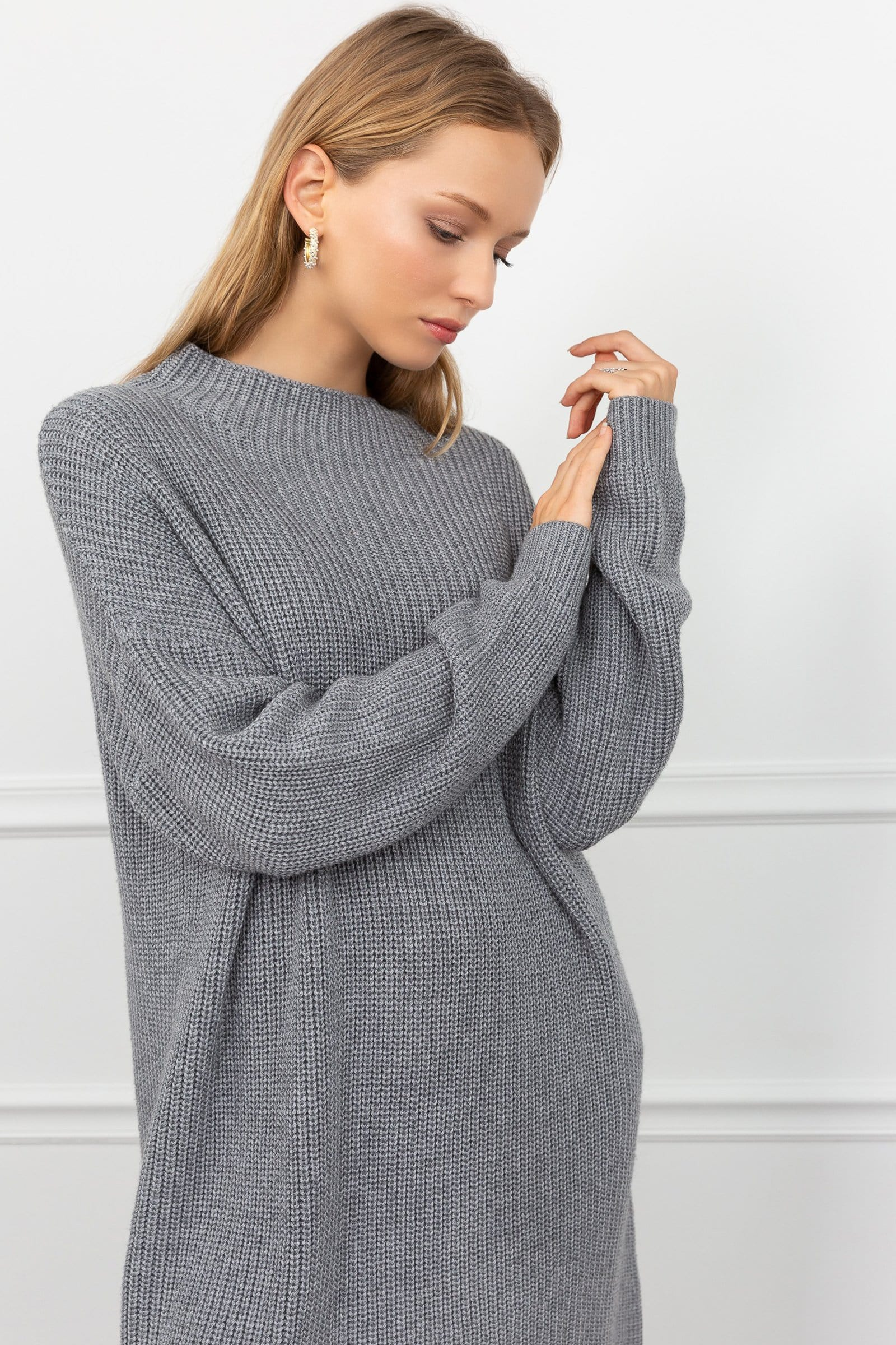 Gabby Grey Knit Sweater Dress