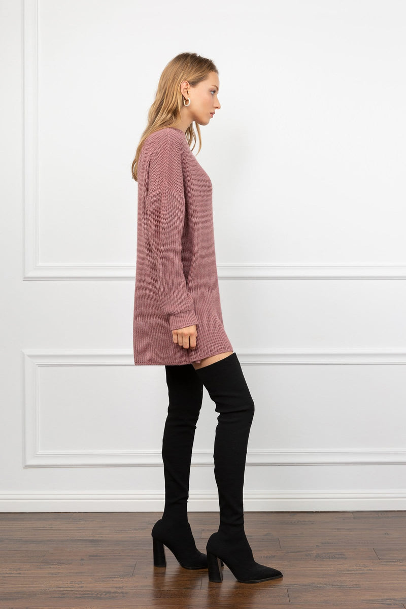 Mindy Mauve Knit Sweater Dress