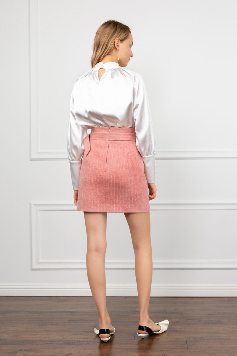 Isabelle Pink Belted Pencil Skirt