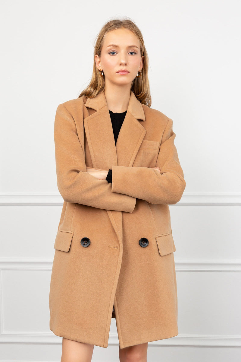 Oakey Brown Oversize Pea Coat