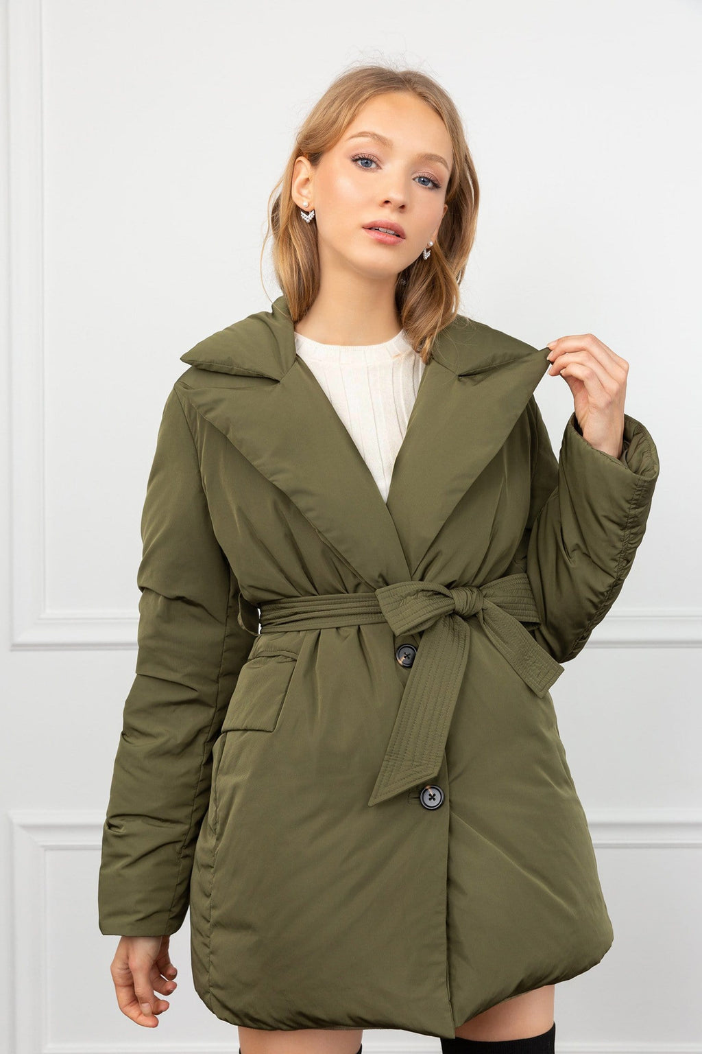 Sienna Green Puffer Wrap Coat