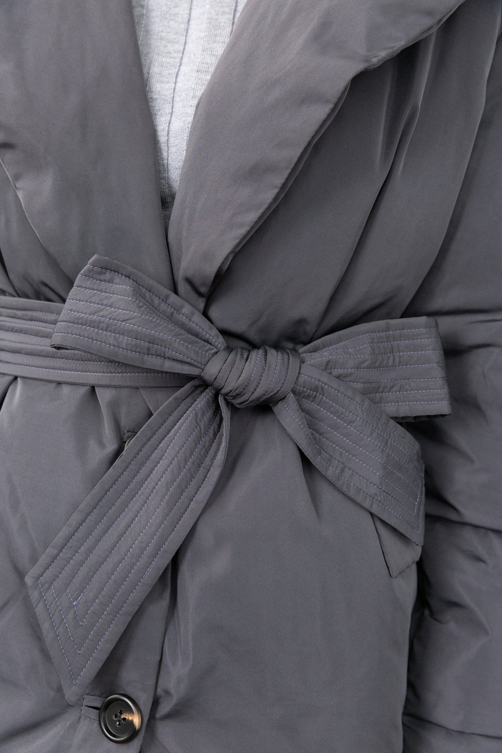 Sienna Grey Puffer Wrap Coat