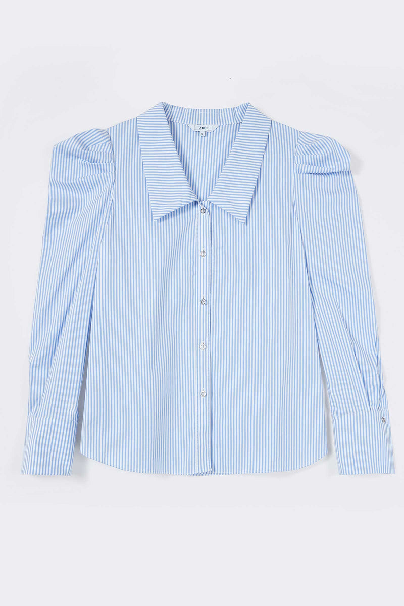 Blue Striped Ruffle Blouse