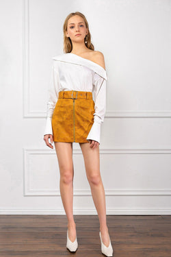 Orange Suede Belted Mini Skirt Fully Lined | J.ING Women's Apparel