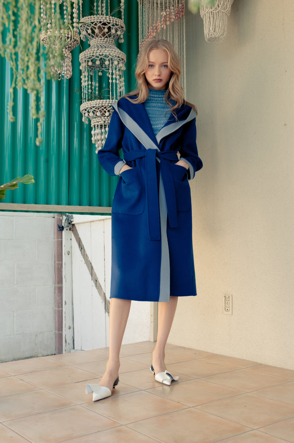 Phoebe Wrap Coat Blue