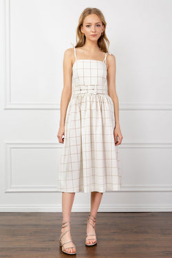 White Grid Pattern Spaghetti Strap Midi Dress | J.ING women's apparel