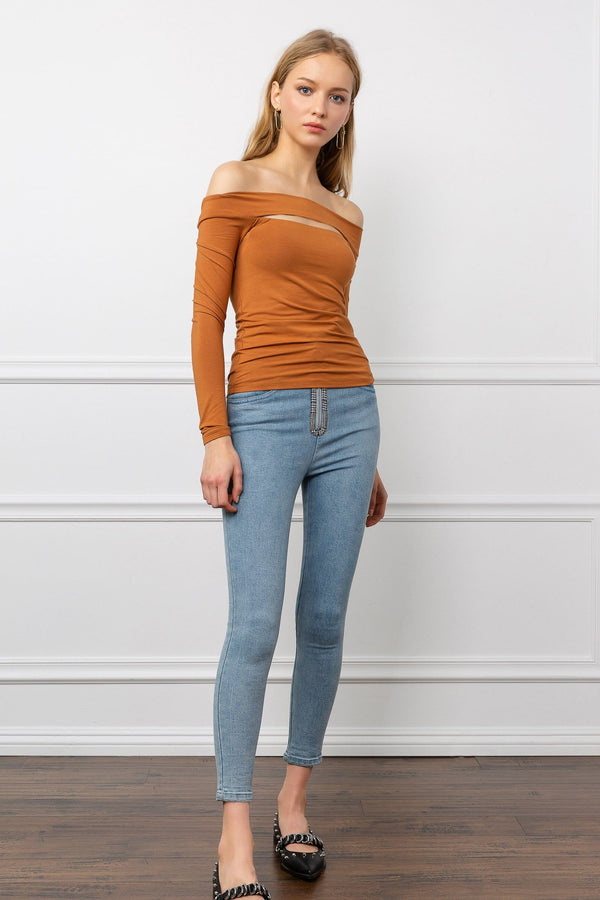 Orange Brown Off the Shoulder Long Sleeve top | J.ING women's apparel