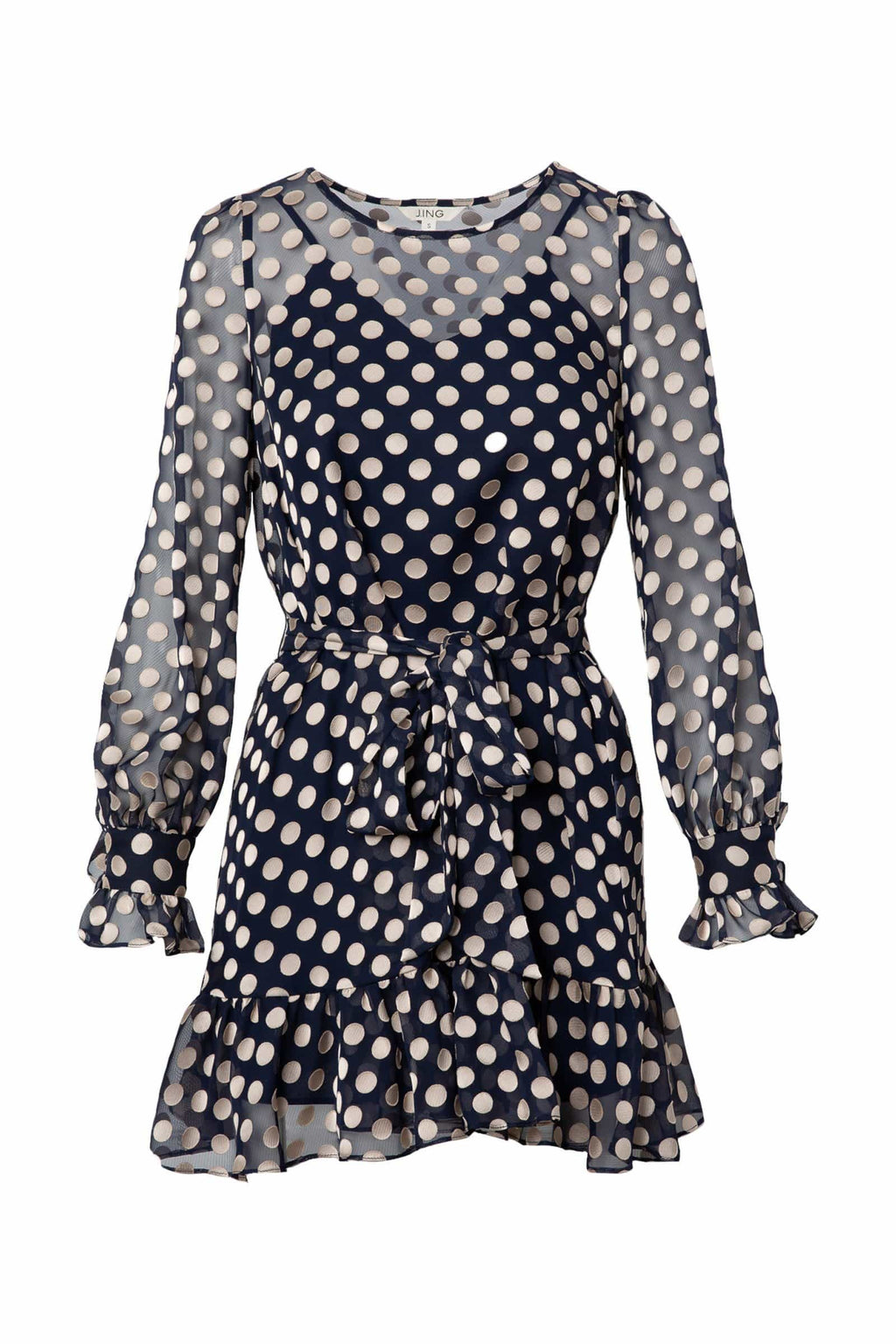 Queenie Polka Dot Sheer Dress by J.ING Women's Clothing