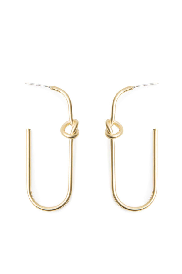 Gold colored half hook earrings with tiny hearts | J.ING Women's Accessories