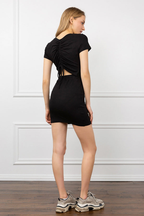 Black Short Sleeve Peek-a-boo cut-out Mini Dress | J.ING Women's Apparel