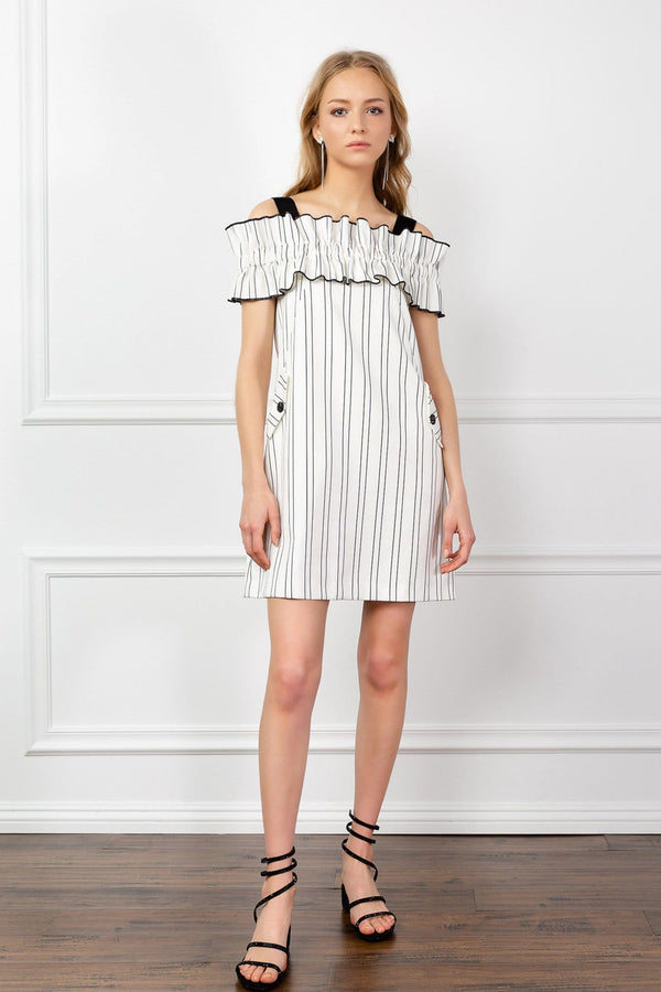 White Off the Shoulder Ruched Shift Dress Stripes | J.ING Women's Apparel