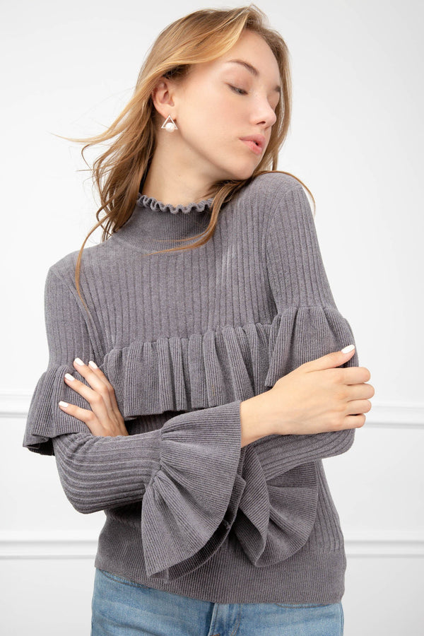 Sandra Ruffled Sweater in Knitwear by J.ING - an L.A based women's fashion line