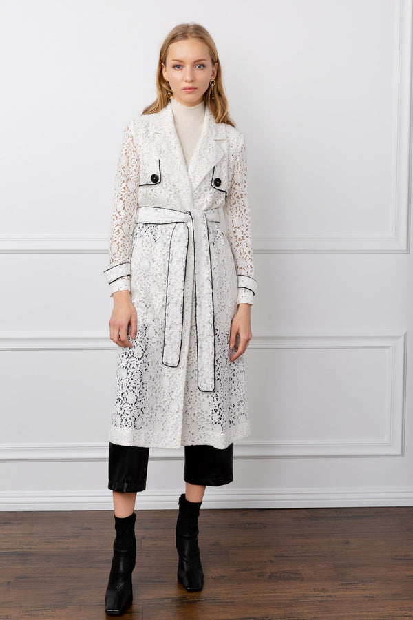 white eyelet lace long duster coat by j.ing women's apparel