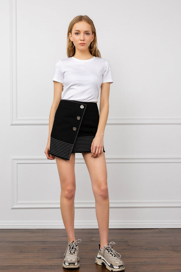 Black Asymmetrical Wrap Button Mini Skirt | J.ING Women's Apparel