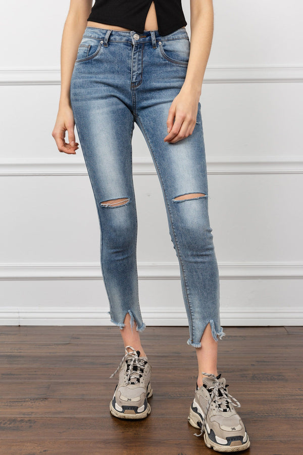 Acid Washed Denim Cropped Jeans | J.ING Women's Pants