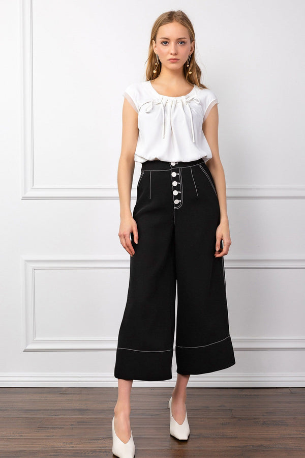 Black Wide Leg Flared High Waist Pants | J.ING Women's Bottoms