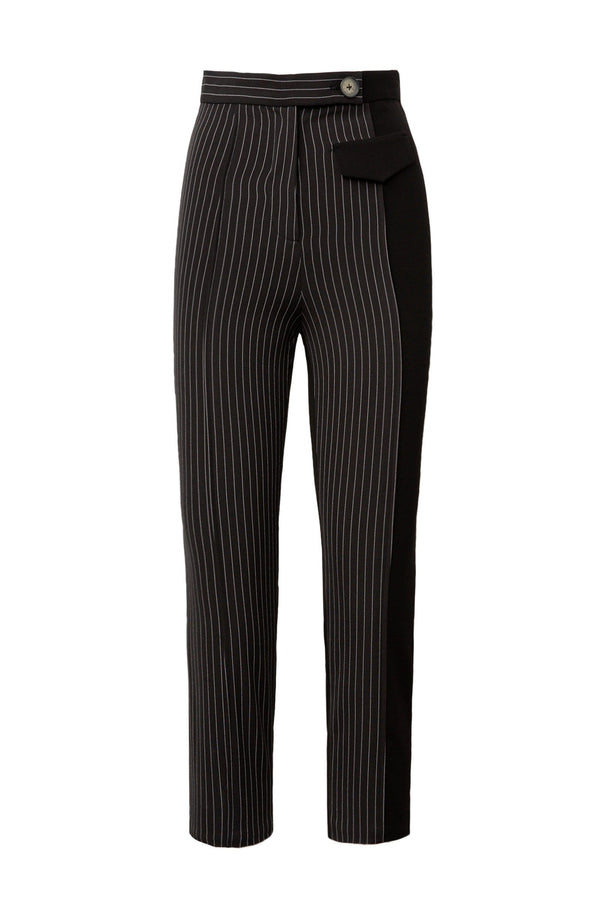 Preta Charcoal Pinstriped Cropped Pants