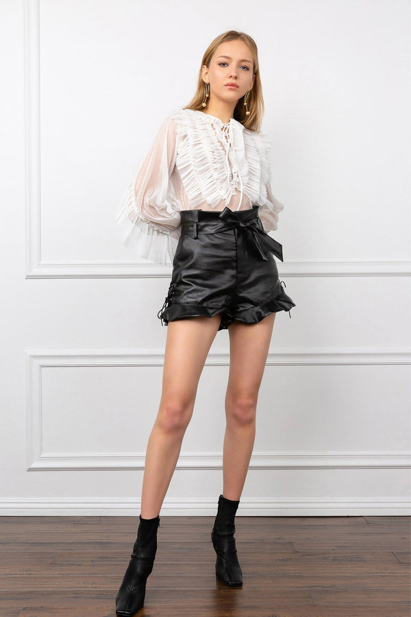 Black Leather Ruffled Bow Tie Belt | J.ING Women's Shorts
