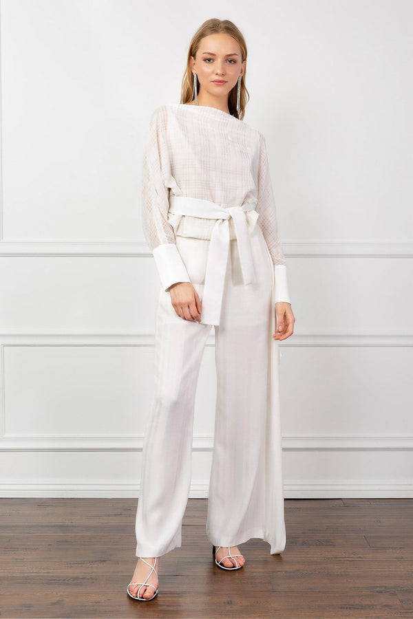 White Wide Leg Pants | J.ING Women's Bottoms