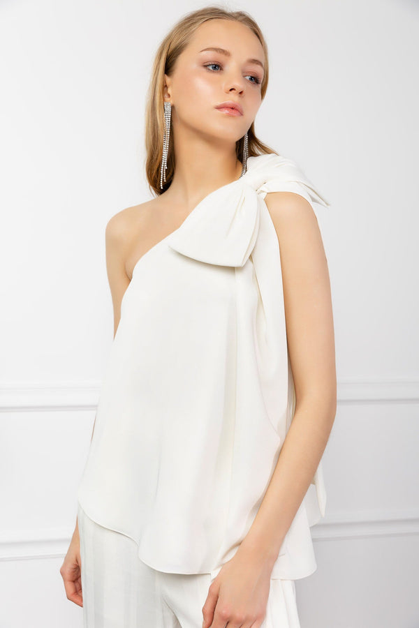 White Asymmetrical One Shoulder Top with Bow | J.ING Women's Apparel