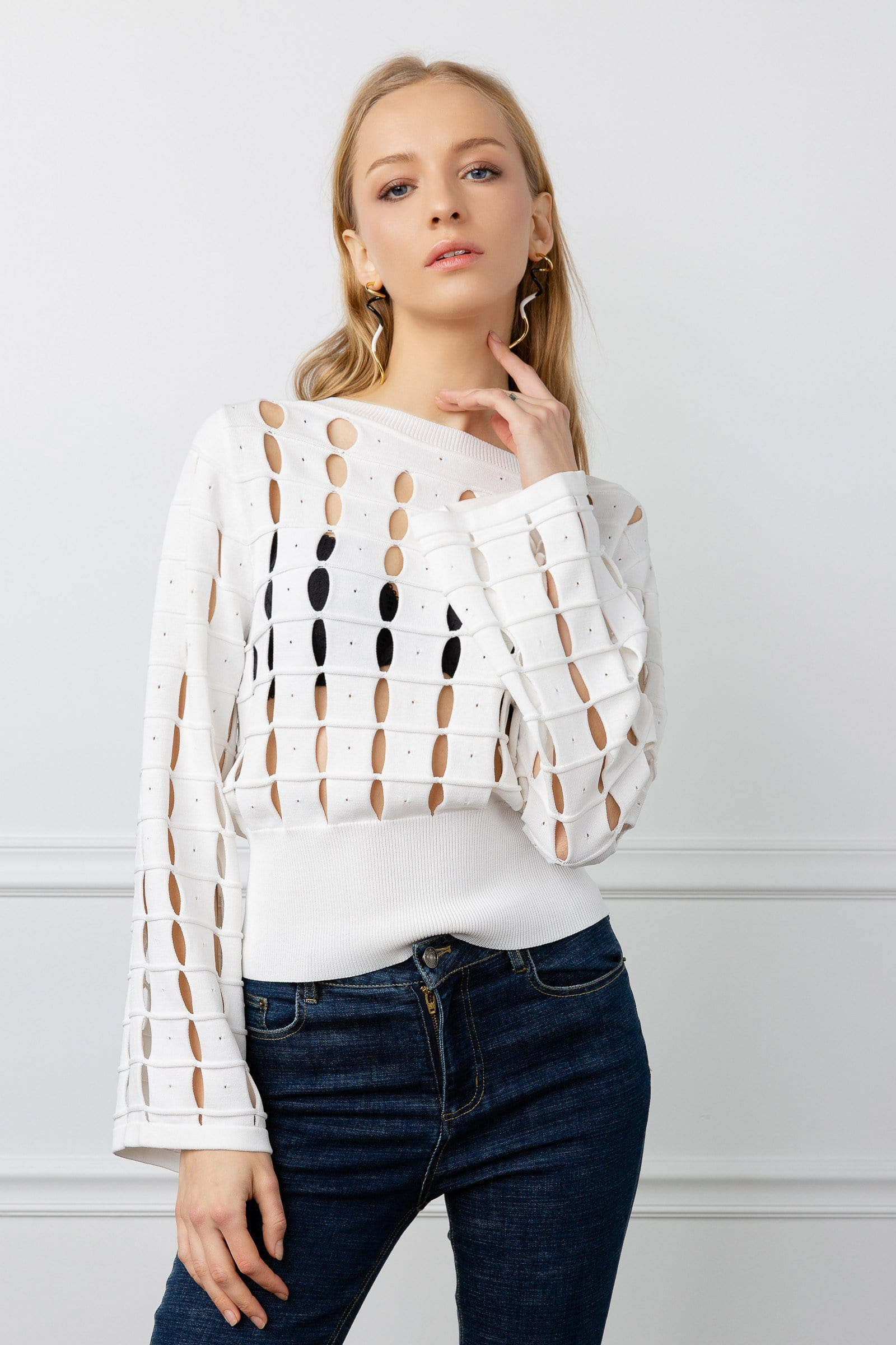 White Cut Out Sweater | J.ING Women's Apparel