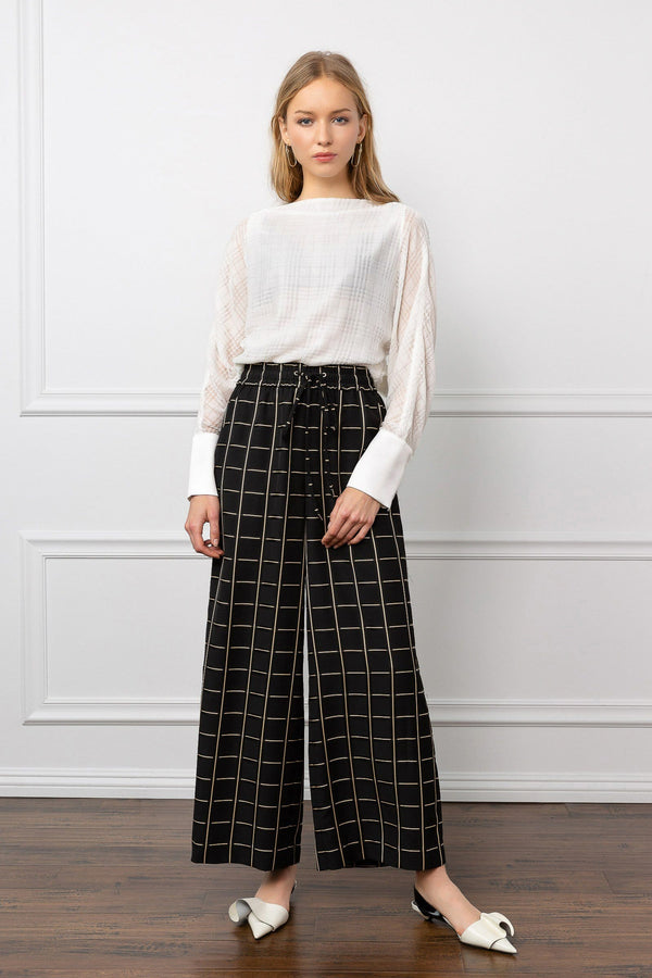 Black Wide Leg Grid Pattern Pants | J.ING Women's Bottoms