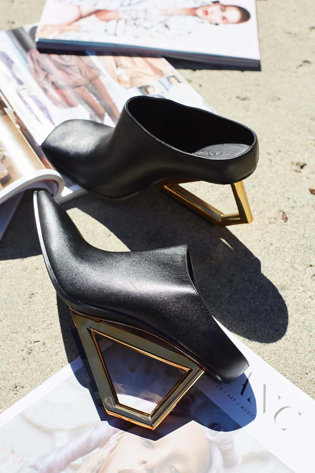 Art Deco Leather Mules in SHOES by J.ING - an L.A based women's fashion line