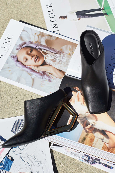 Art Deco Leather Mules
