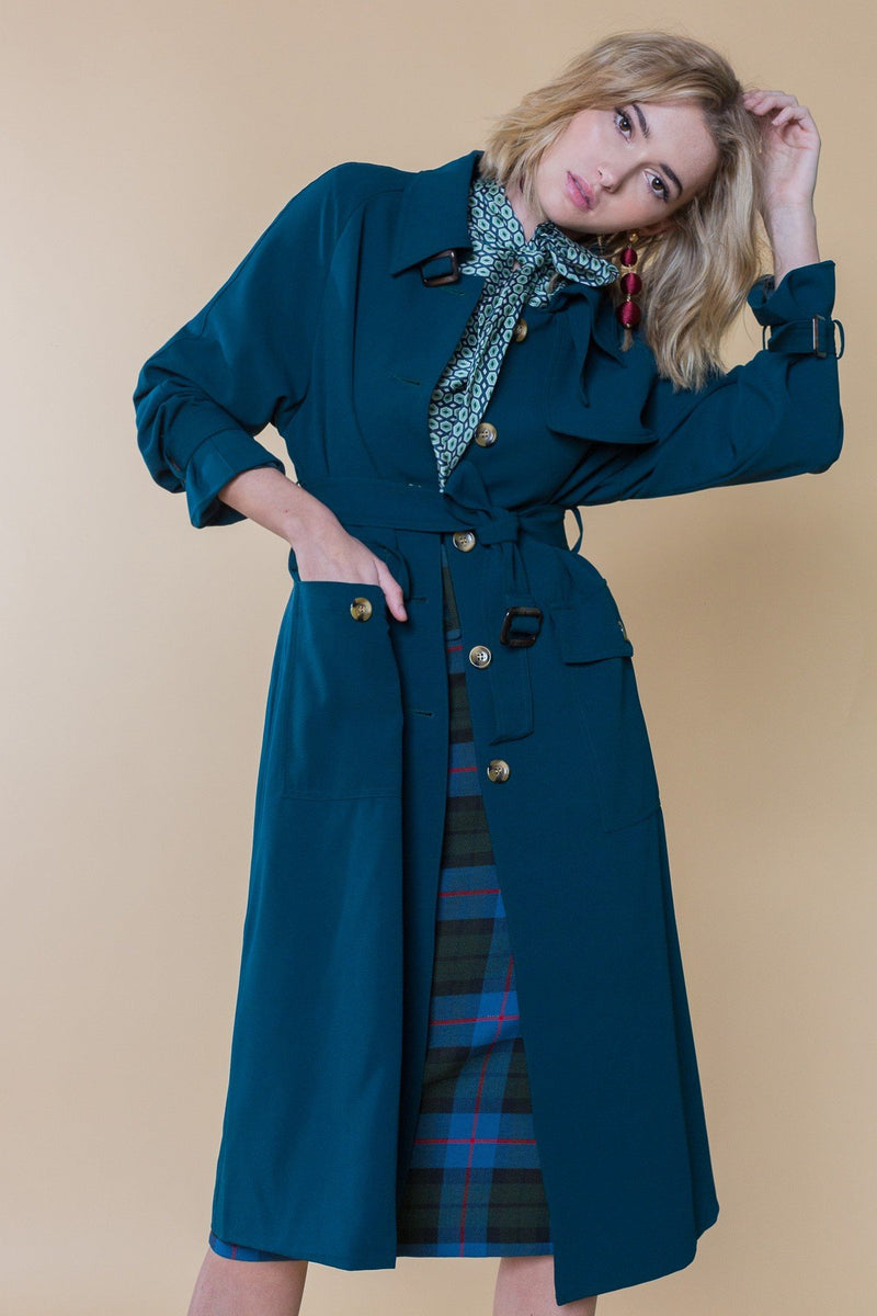 Brigitte Dark Teal Trench Coat in Coats & Jackets by J.ING - an L.A based women's fashion line