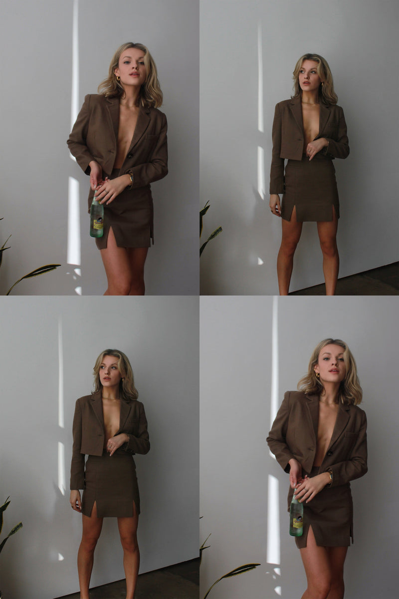 Madi Tan Cropped Blazer