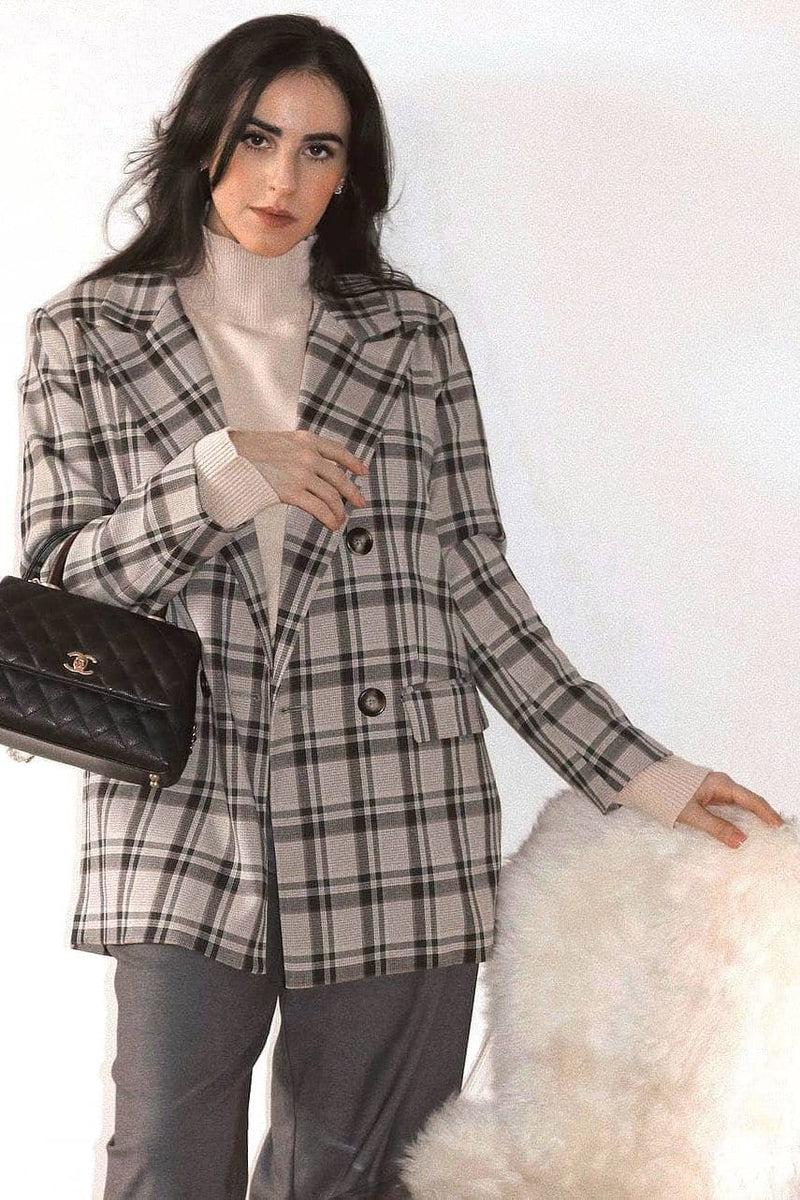 Henry Grey Plaid Blazer