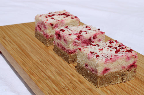 Lemon Raspberry Coconut Slice