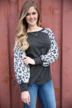 Load image into Gallery viewer, Charcoal Leopard Sleeve Top