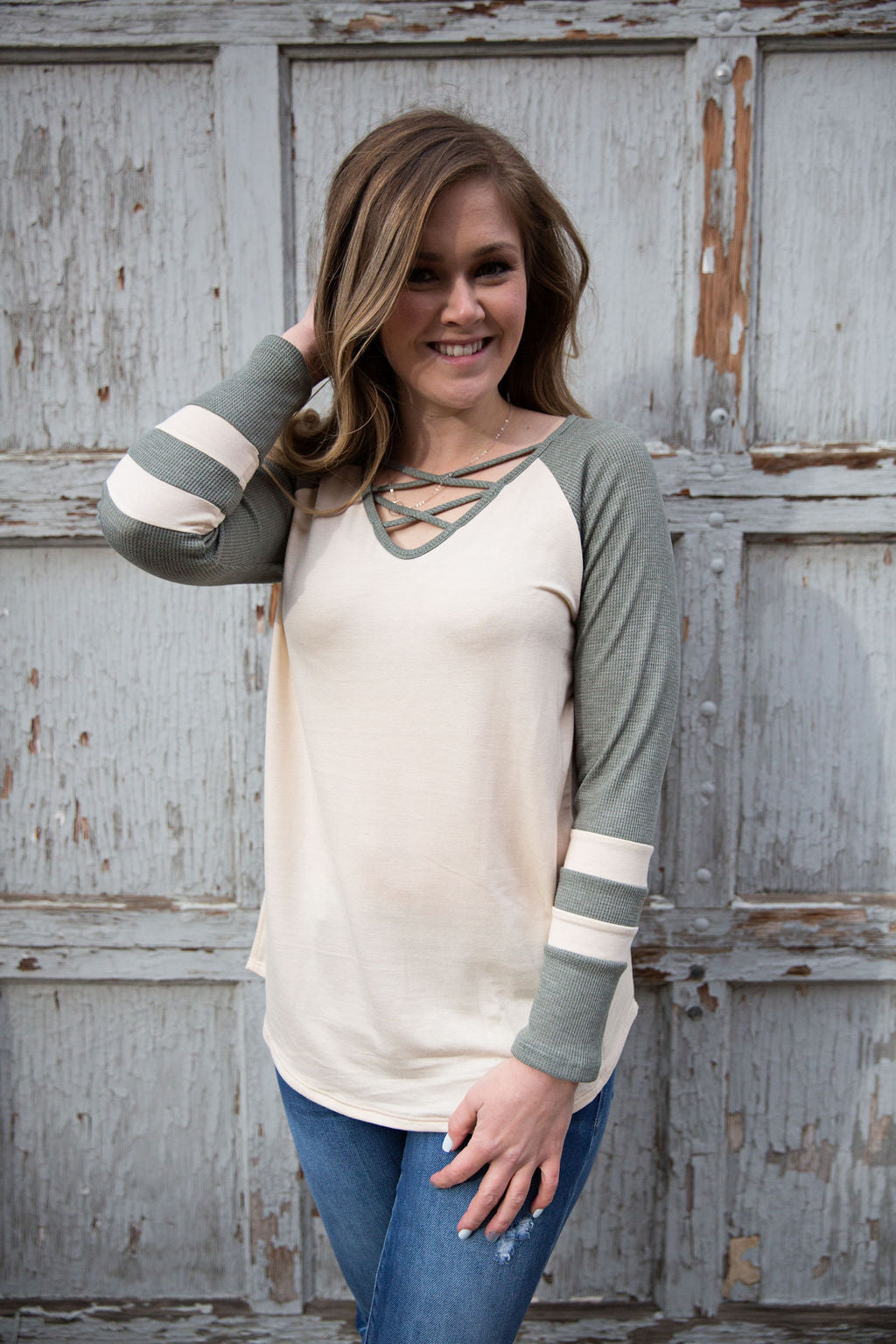 Vintage Sage Criss-Cross Top