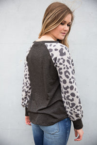 Charcoal Leopard Sleeve Top