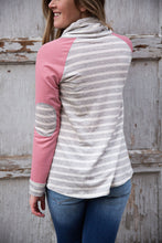 Load image into Gallery viewer, Cowl Neck Striped Pullover