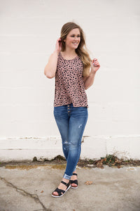 Leopard Woven Sleeveless Top
