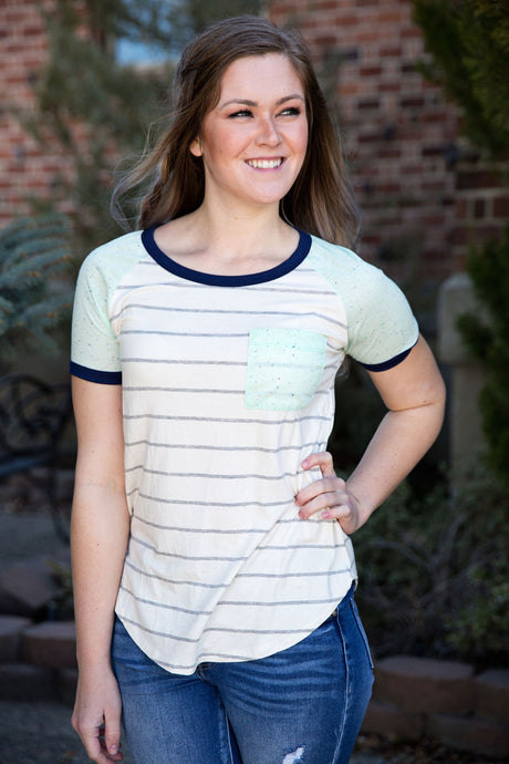 Stripe Mint Tee with Front Pocket